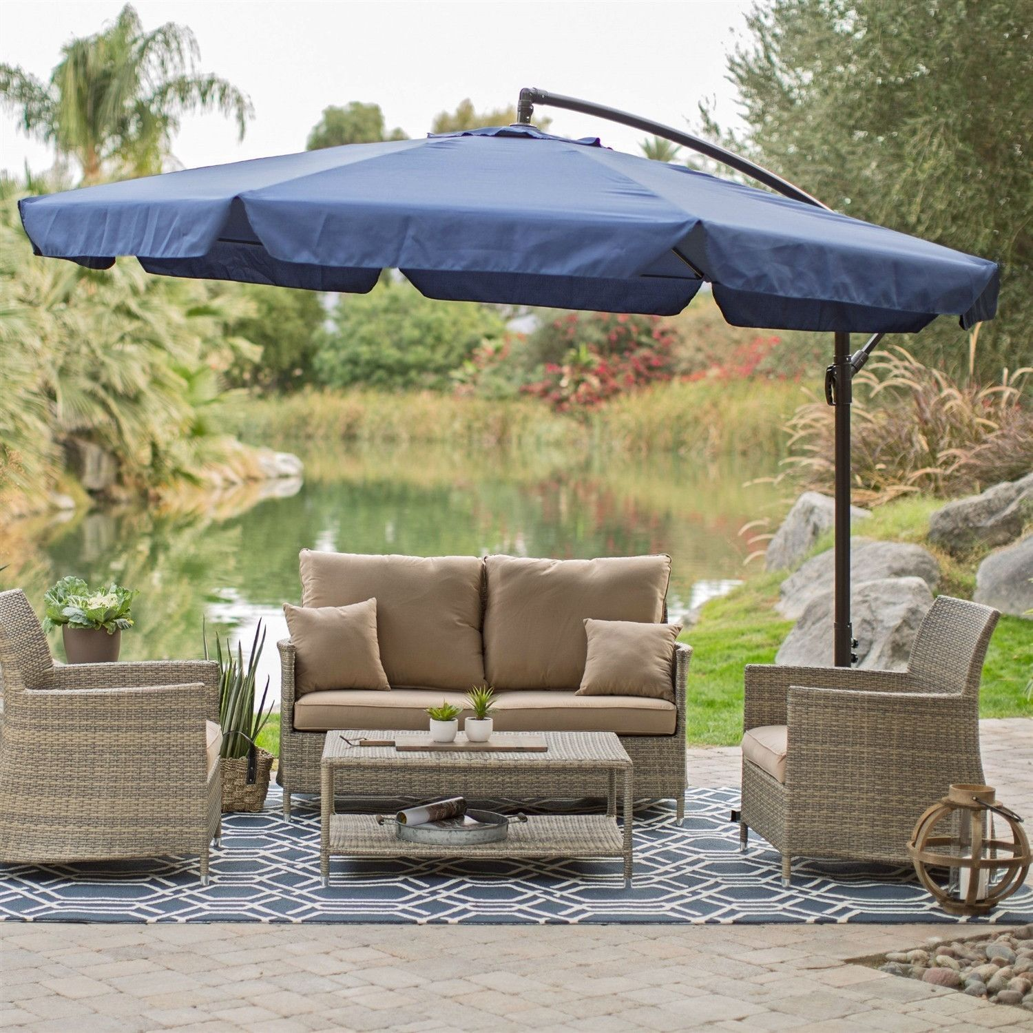 11 Ft Offset Patio Umbrella In Blue With Base And Detachable Mosquito  Netting