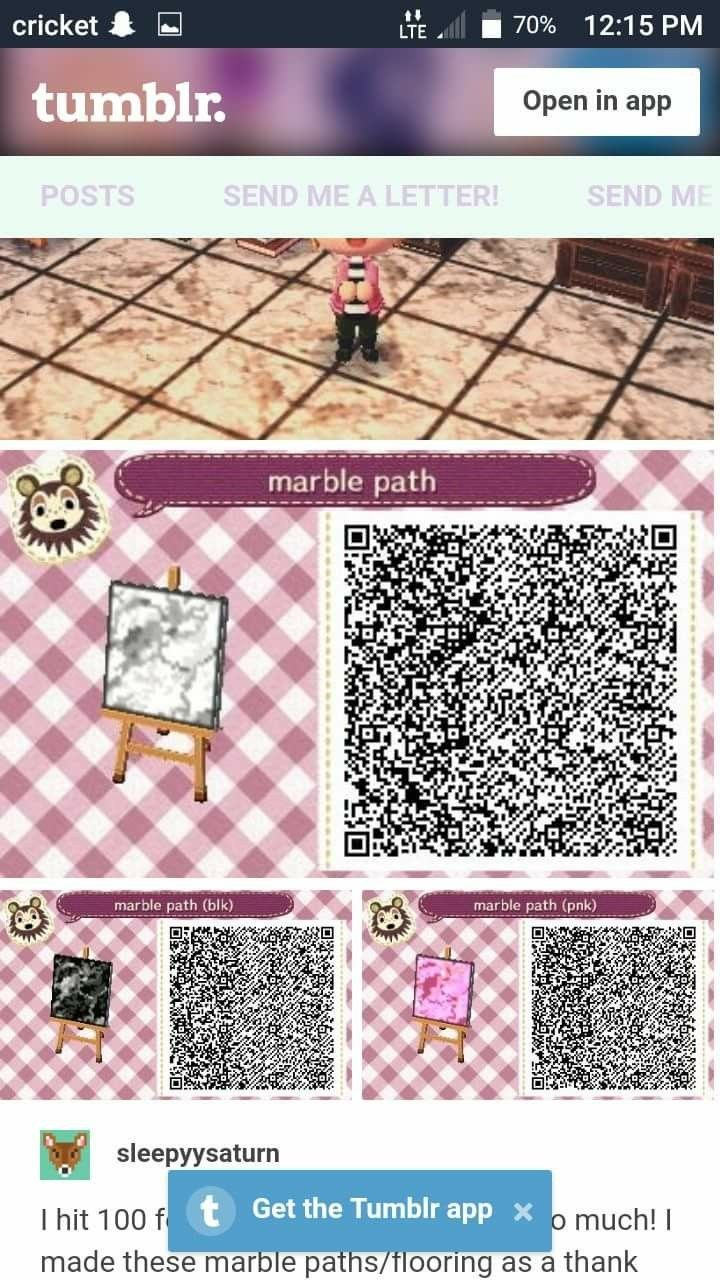 Pink Black And White Marble Tile Animal Crossing Qr Codes