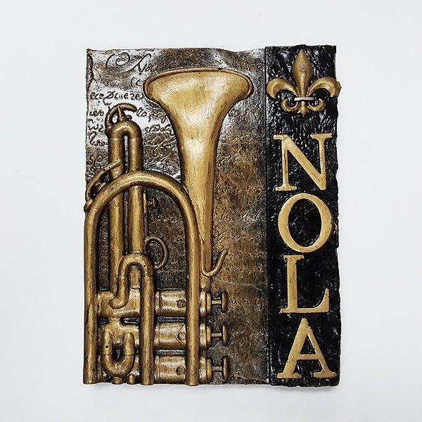 NOLA with Trumpet Wall Plaque
