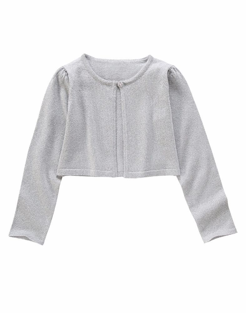 eb4f5b476f8 Gymboree Girls X-Small 4 Silver Sparkle Cropped Cardigan NWT  Gymboree   Cardigan  Dressy