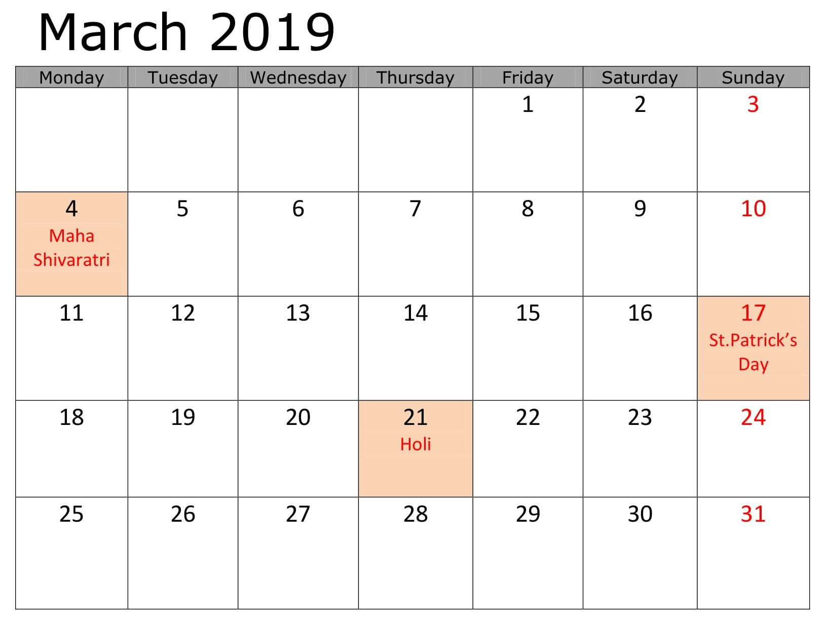 Blank March 2019 Calendar With Holidays With Images 2019