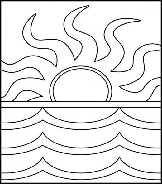 palm tree and sunset coloring page - Google Search ...