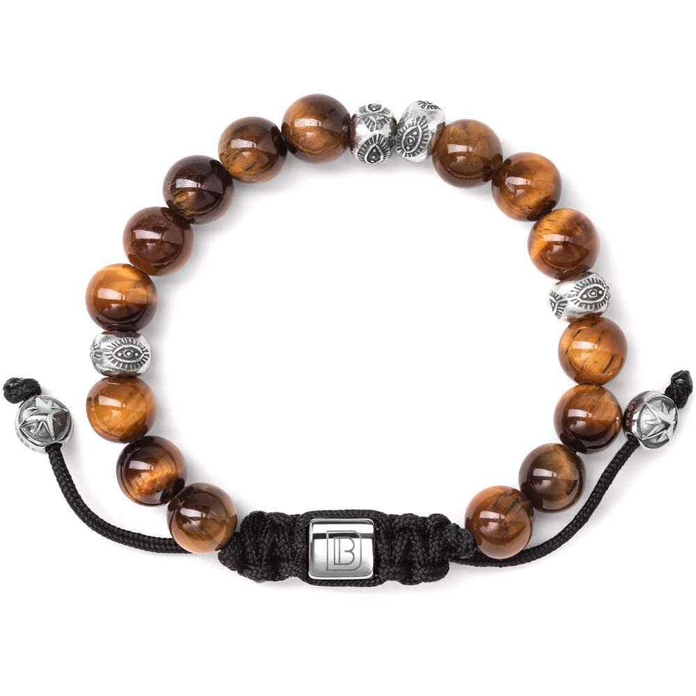 The Interlaken collection is named after our favorite destination that we have ever traveled. Each bracelet features natural gemstones and Sterling Silver beads on a nylon cord. 8MM Tiger Eye Gemstones Sterling Silver accent beads Stainless Steel signature lock and pull beads Each bracelet comes with a polishing pad and a Dowling Brothers cotton jewelry pouch. Hand-strung in our Atlanta studio upon purchase.
