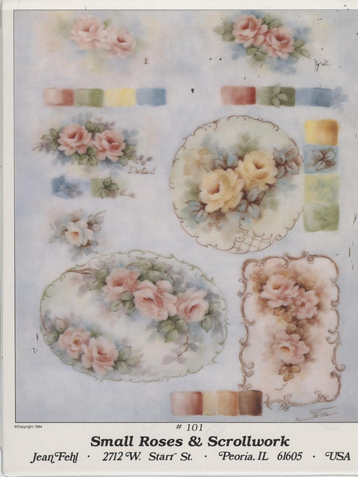 Small Roses Scrollwork 101 by Jean Fehl China Painting Study 1984 | eBay