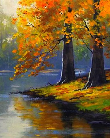 Summer Leaves The Golden Trees Painting Acrylic Landscape Fall Canvas