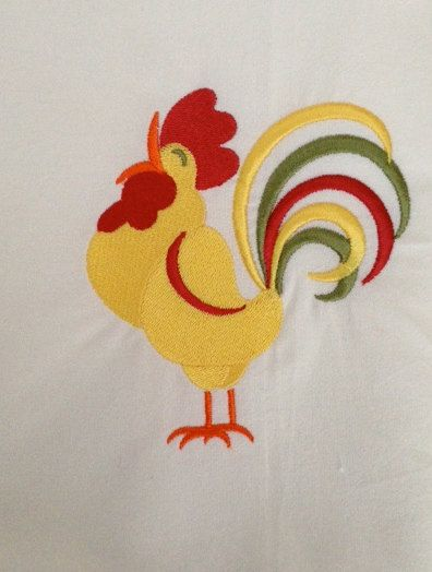 Large Cotton Flour Sack Dish Towel Embroidered by Renjaz on Etsy, $6.00