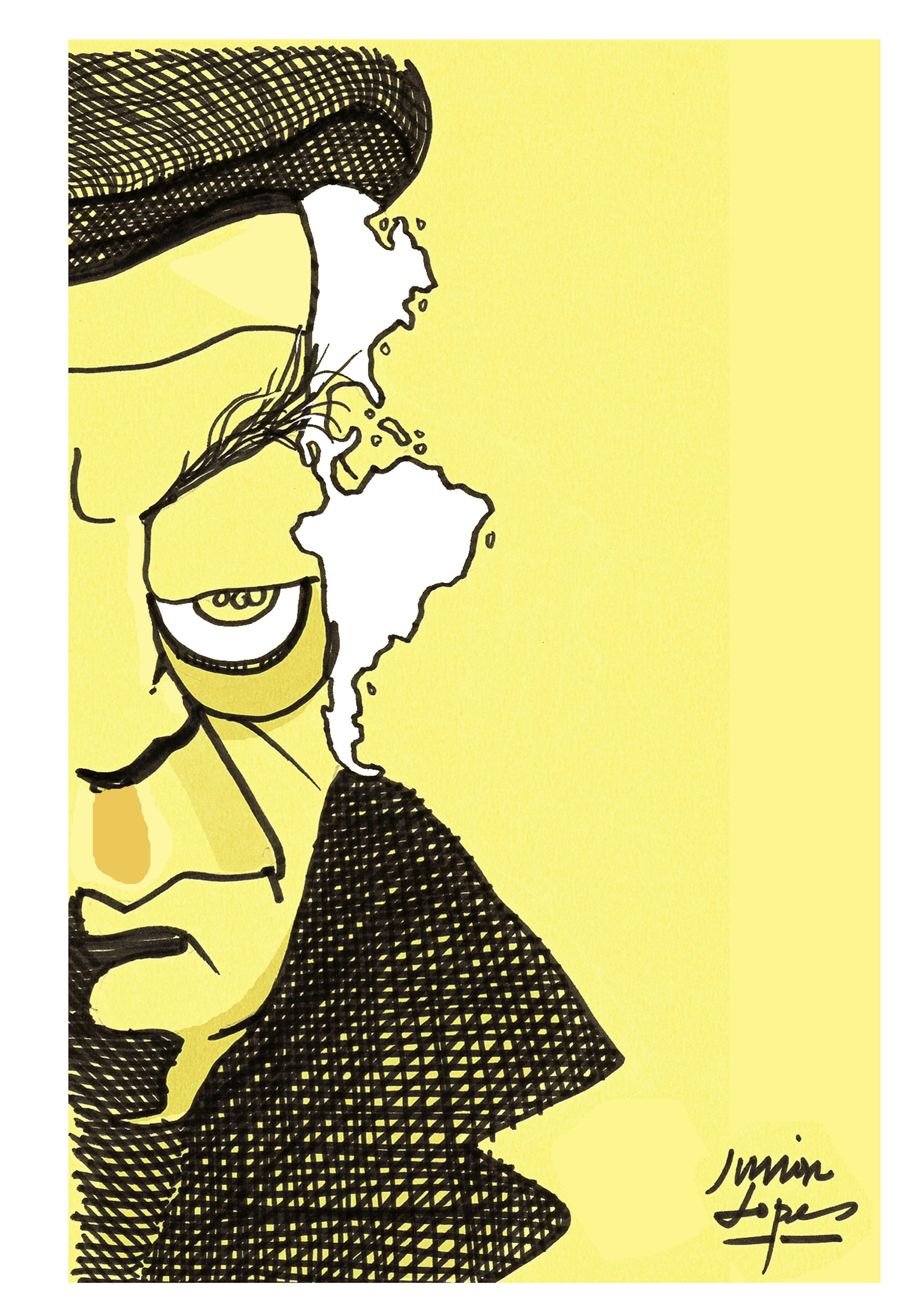 Eduardo Galeano Caricaturas Acuarela