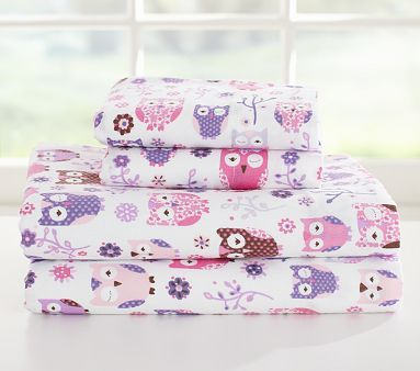 sleepy owl flannel sheet set shopping in the kids section is way more fun