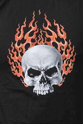 Flaming Skull Biker T Shirt