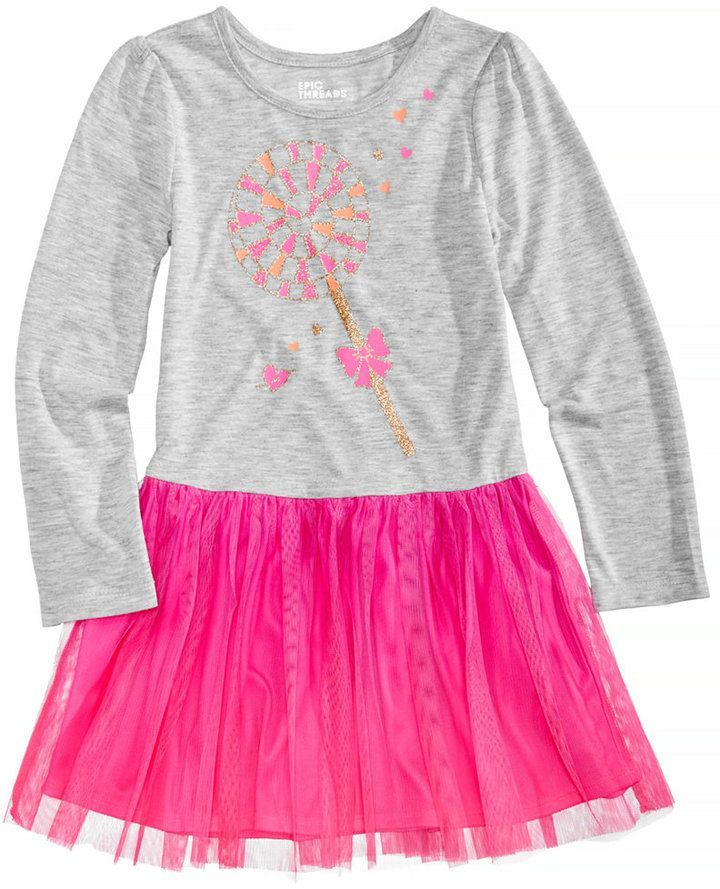 616d9ea606ec8 Epic Threads Long-Sleeve Lollipop-Print Tutu Dress, Little Girls (4-6X),  Created for Macy's