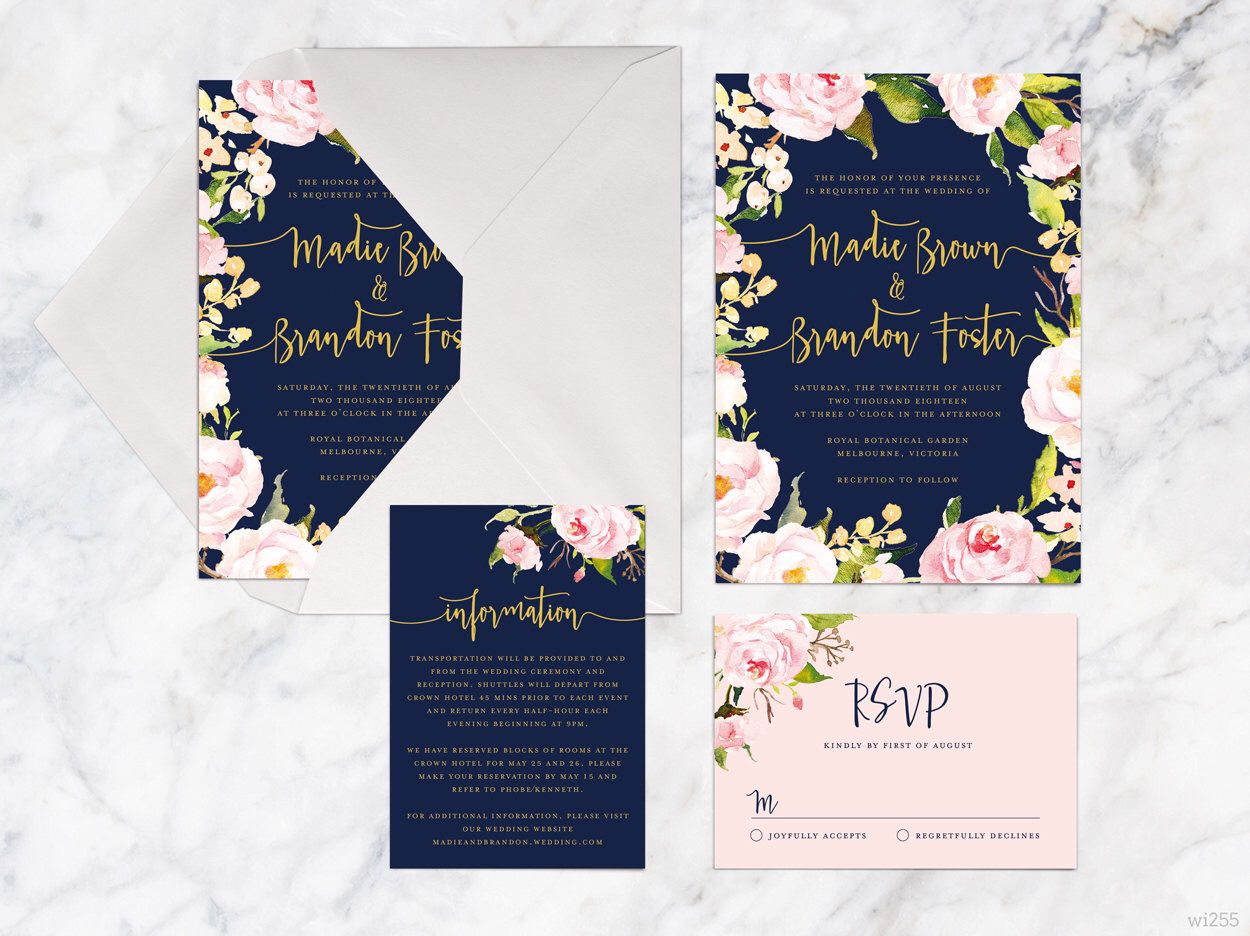Printable Wedding Invitation Set Rose Pink Navy Gold Wedding