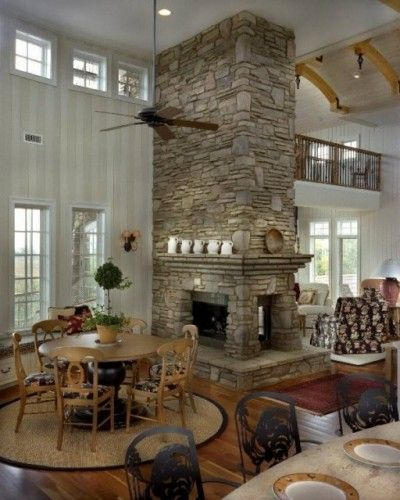 3 sided fireplace with mantle