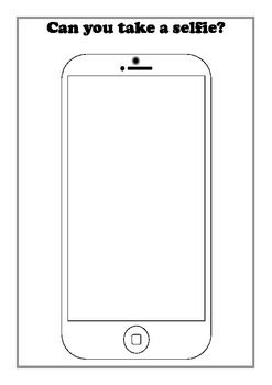 Mobile Phone Outline Sheet For Drawing Selfie Themed Self Portraits Phone Craft Video Games For Kids Cool Drawings