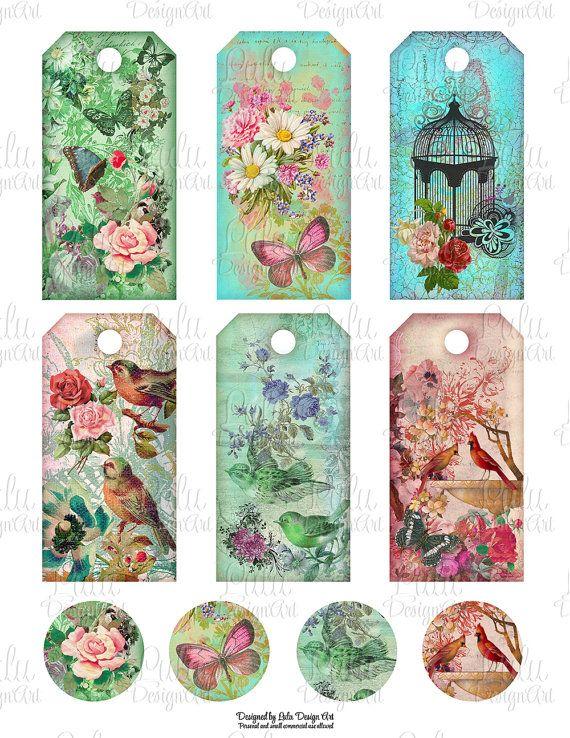 Spring digital collage sheet, birds printable tags, digital tags ...