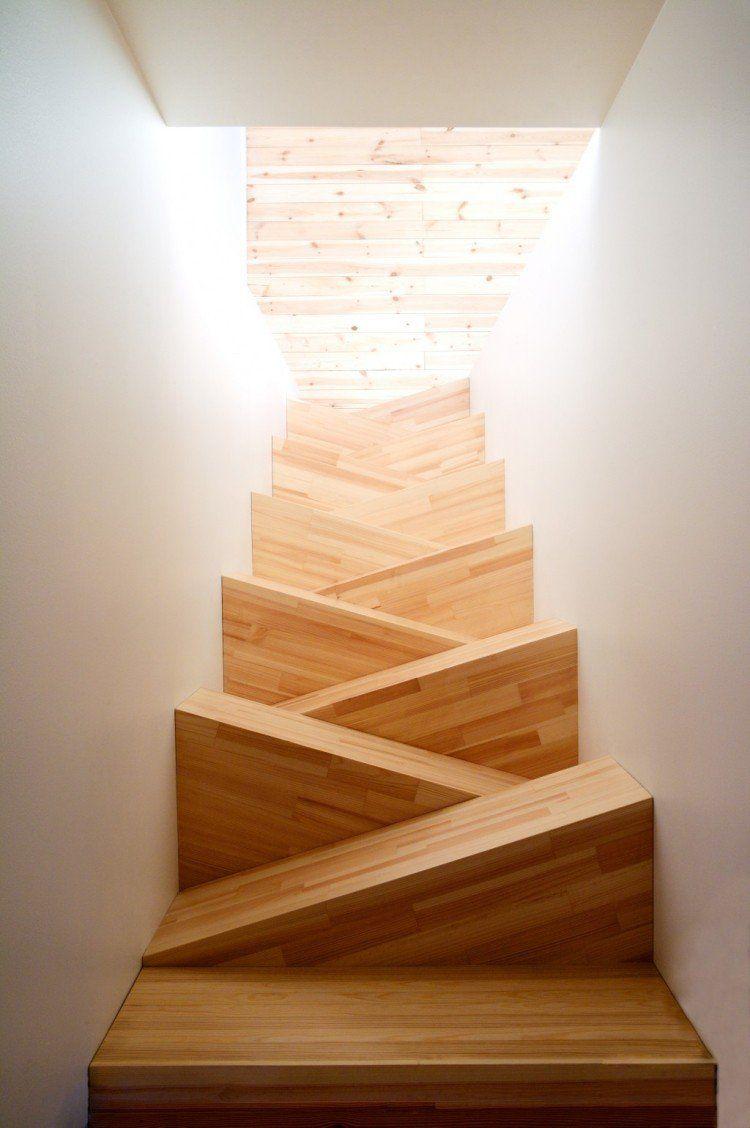 Escalier En Bois Moderne à Marches Alternées Triangulaires