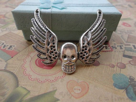8pcs antique silver skeleton/skull wings by blueskysupplies