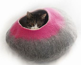 Cat Bed Cave Cocoon House Is Made From Felted 100% Merino Wool With Free  Wool