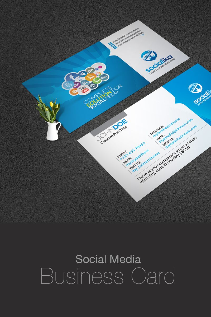 Social media business card corporate identity template web social media business card corporate identity business card design business cards templates social flashek Gallery