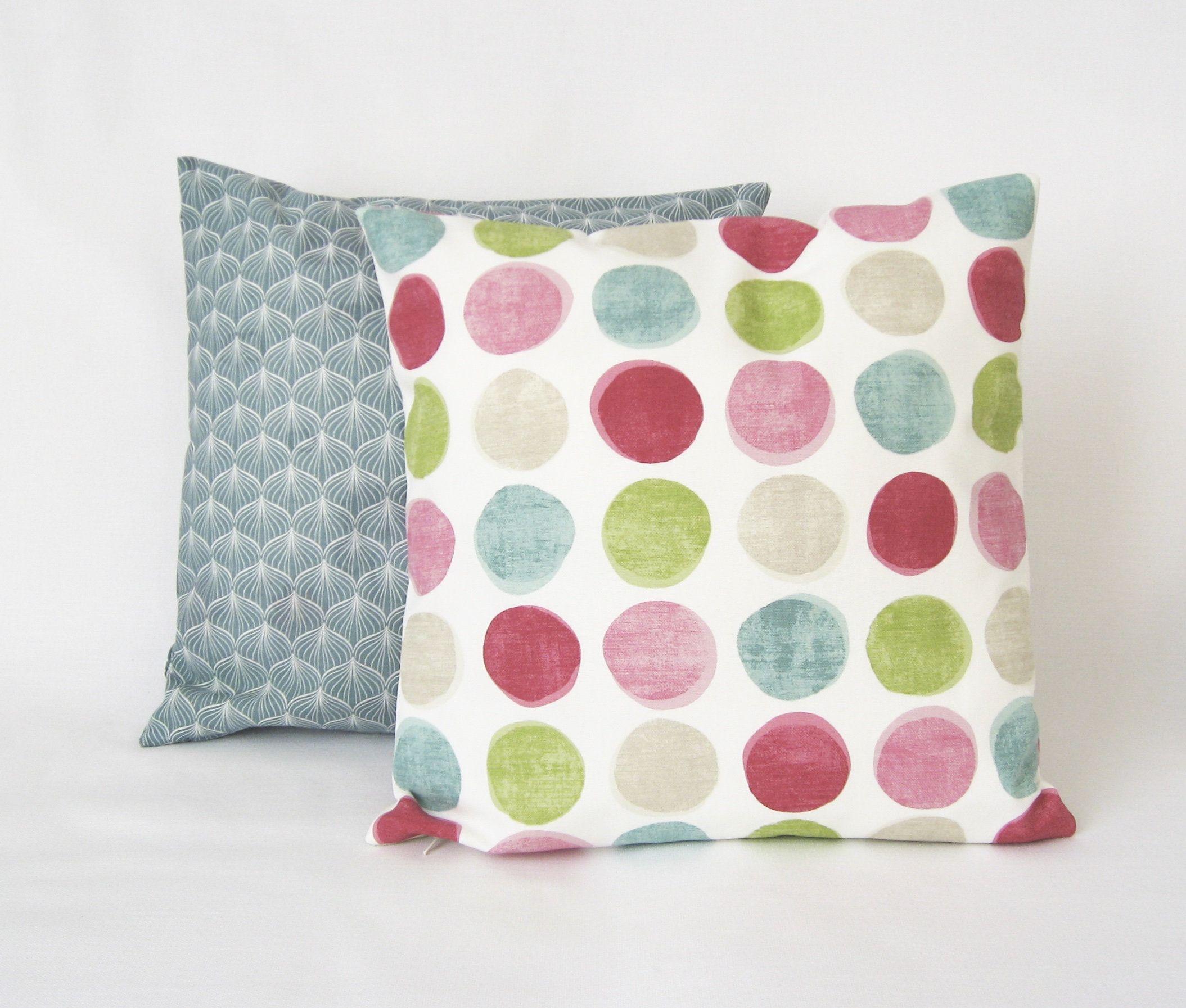 Pillow Cover Maxi Points Pink Green Aqua Kissenbezuge Etsy Und Pink