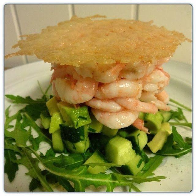 Edel's Mat & Vin : Lime-marinerte reker med avokado og sprøstekt parm...