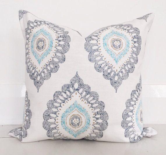 Decorative medallion & natural linen cushion cover - designer cushion 50 x 50 cm - FREE SHIPPING Australia wide