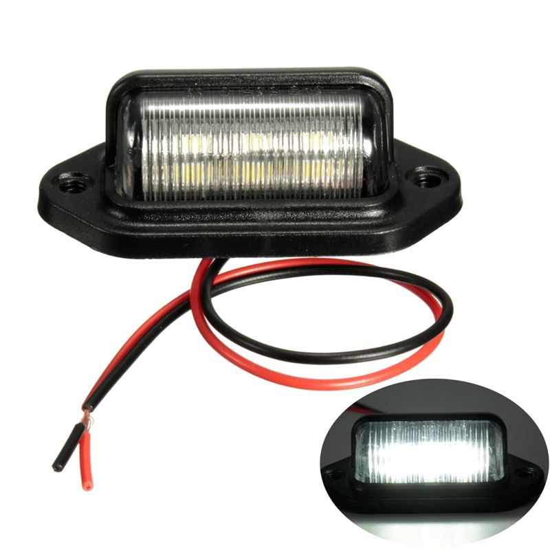 12v 6leds License Plate Light Lamp Bulbs Number Plate Light For Motorcycle Boats Aircraft Automotive Trailer Rv Truck White Number Plate Light Trailer Lorry