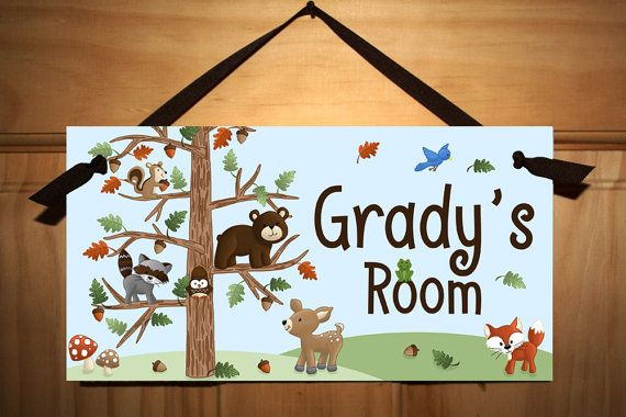 Forest Animal Friends Wooden Girls Wall Art Display by ToadAndLily
