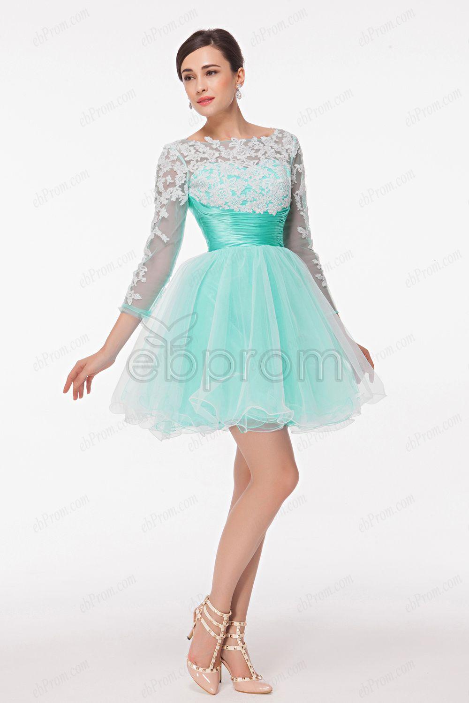 Long Sleeve Mint Green White Short Prom Dress ! $99.99 | Graduation ...