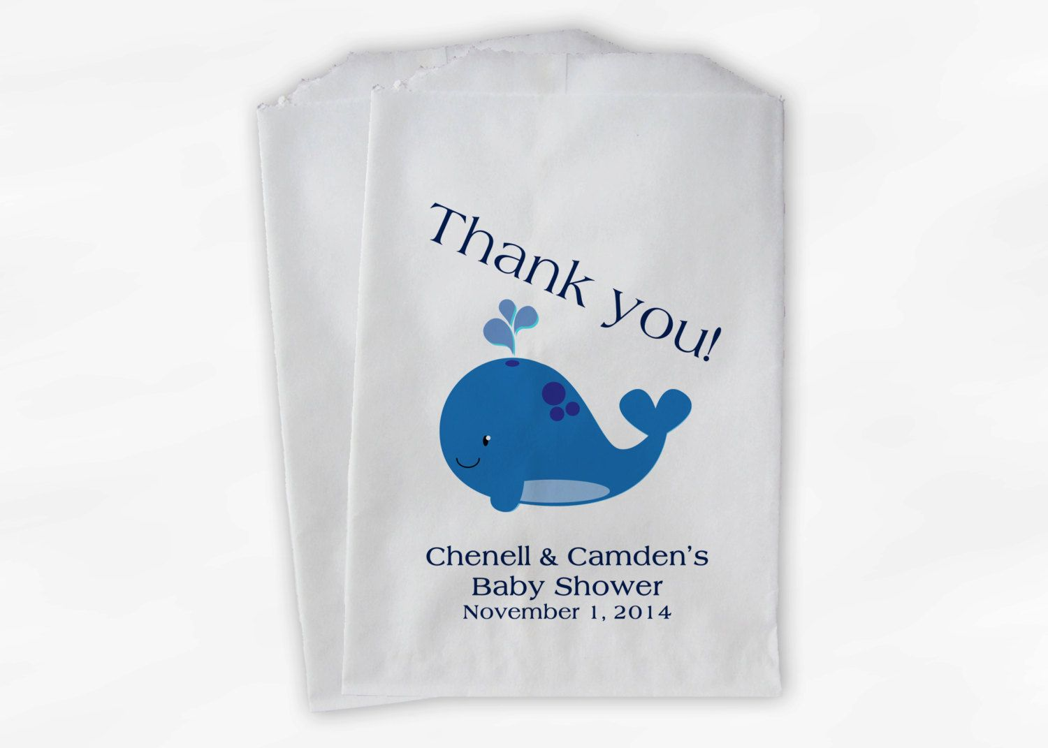 Blue Whale Baby Shower Favor Bags - Personalized Custom Treat Bags for Baby Shower - Paper Bags (0019)