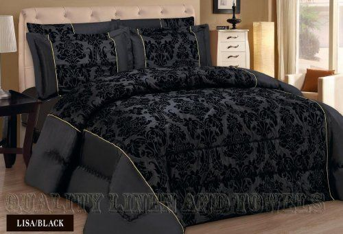Lisa Black King Quilted 3 Pieces Bedspread Modern Flock Damask Jacquard Luxury Comforter Bedding Set Includes Bed Comforters Bedspreads Comforters Bed Spreads
