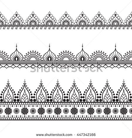 Border Line Lace Mehndi Elements In Indian Style For Card And Tattoo