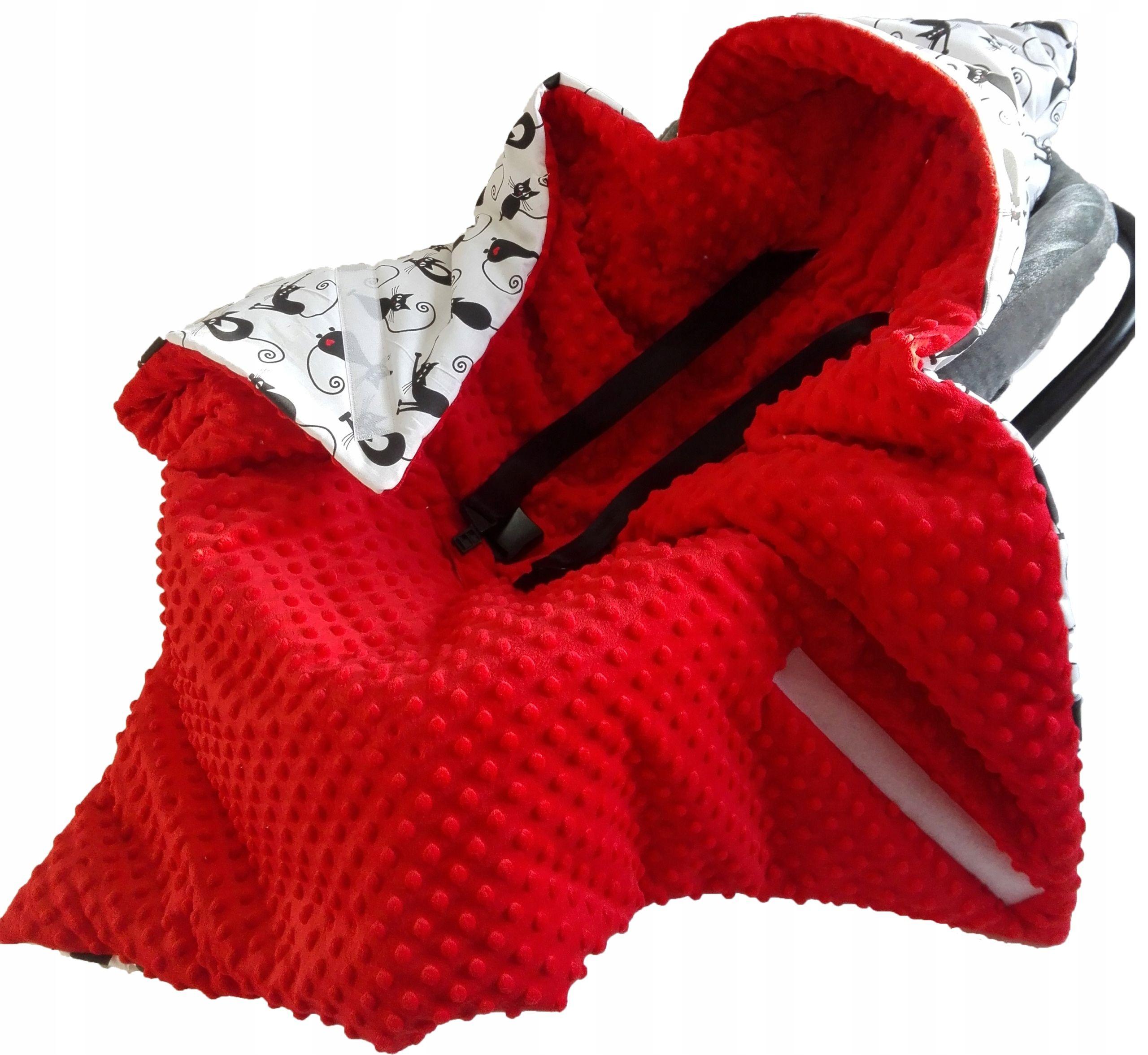 Kocyk Minky Z Kapturem Nosidelka Fotelika Otulacz Fashion Scarf Handmade