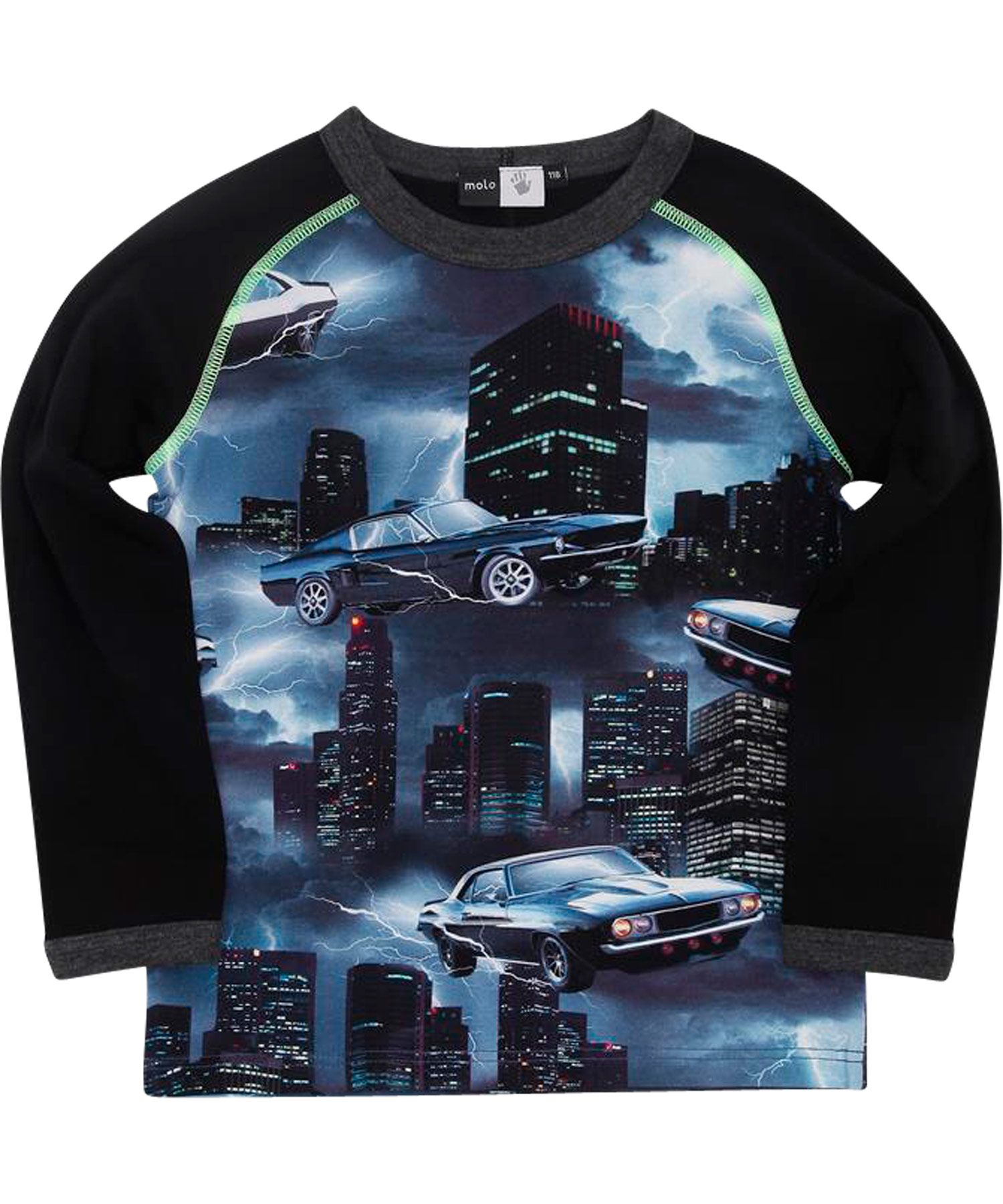 Molo stoere zwarte t-shirt met bliksem auto's. molo.nl.emilea.be