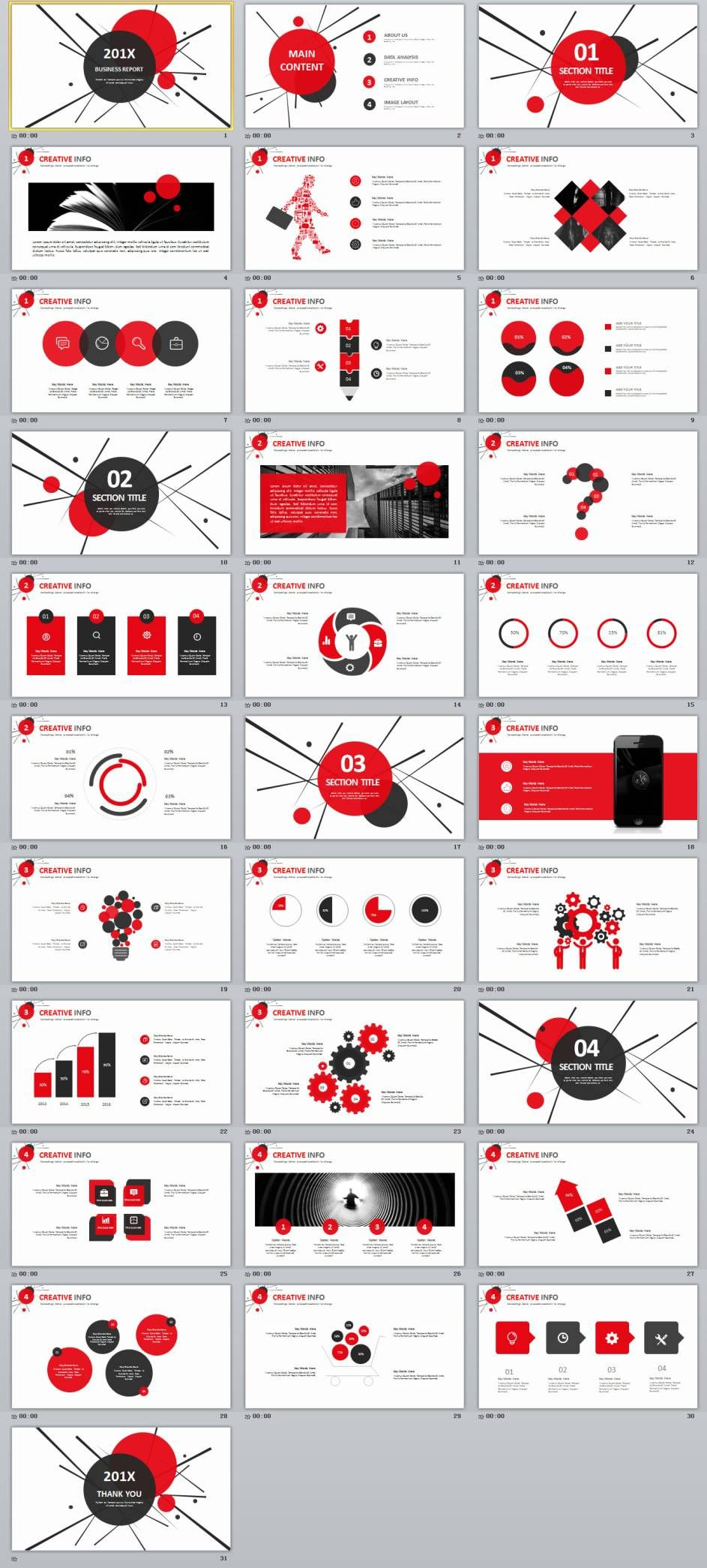 Red Black Business Report Powerpoint Templates  Best