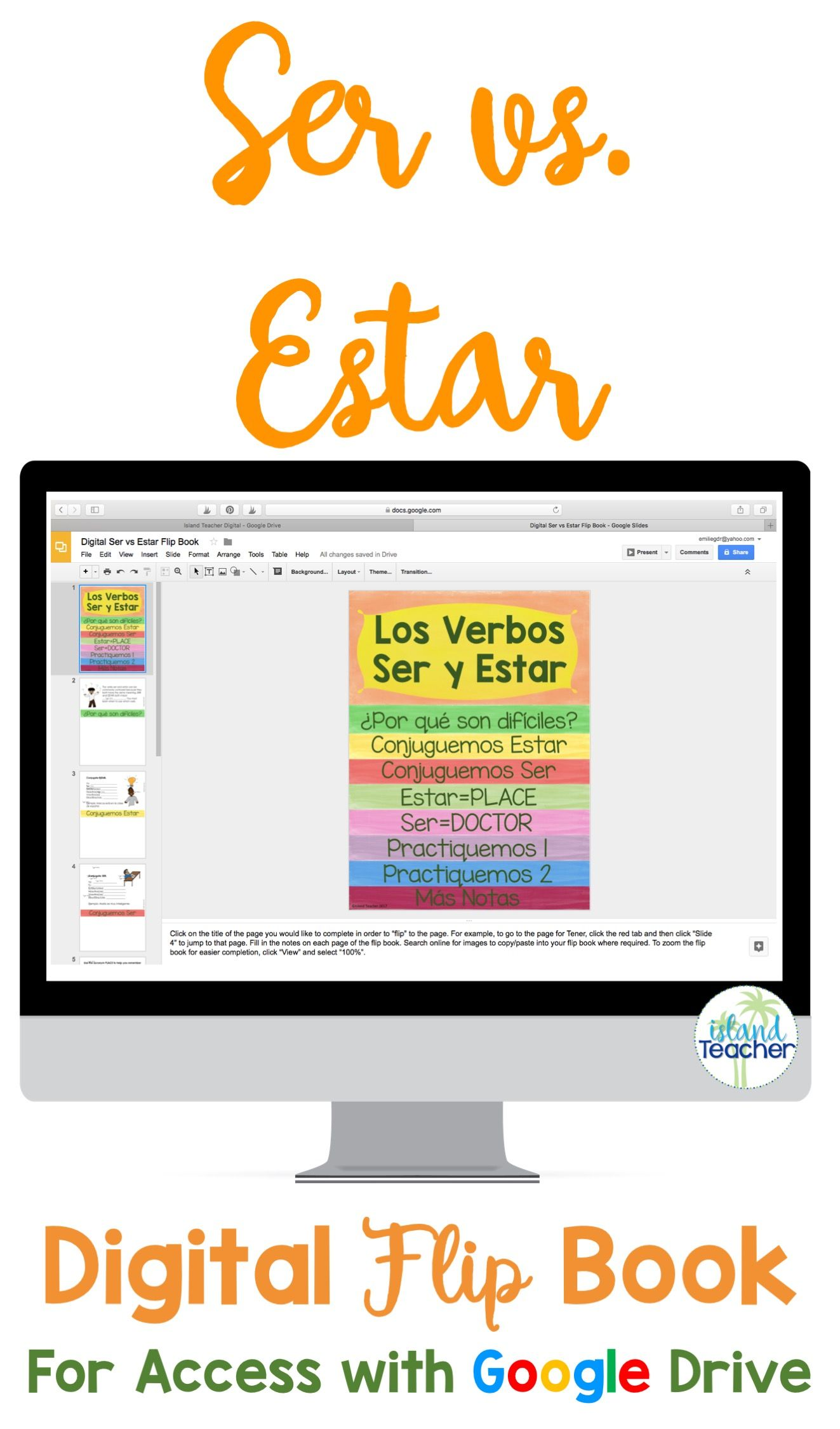 Spanish Ser Vs Estar Digital Flip Book