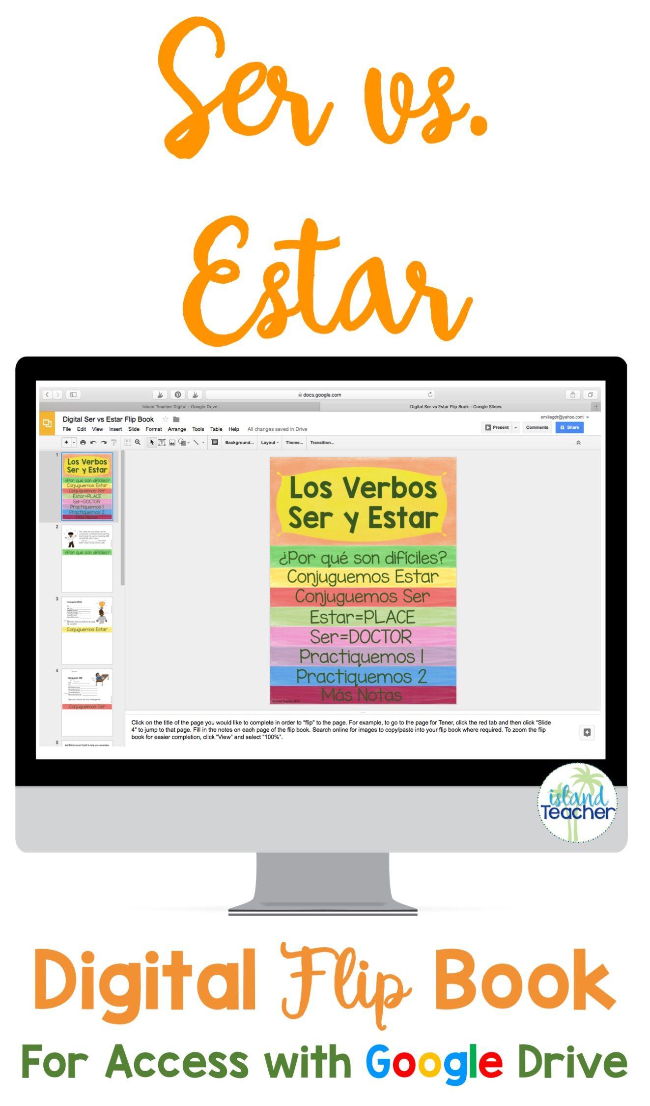 Spanish Ser Vs Estar Digital Flip Book