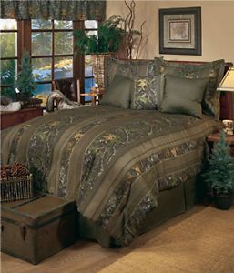 Queen Comforter Set Camo New Mossy Obsession Stripe Hunting