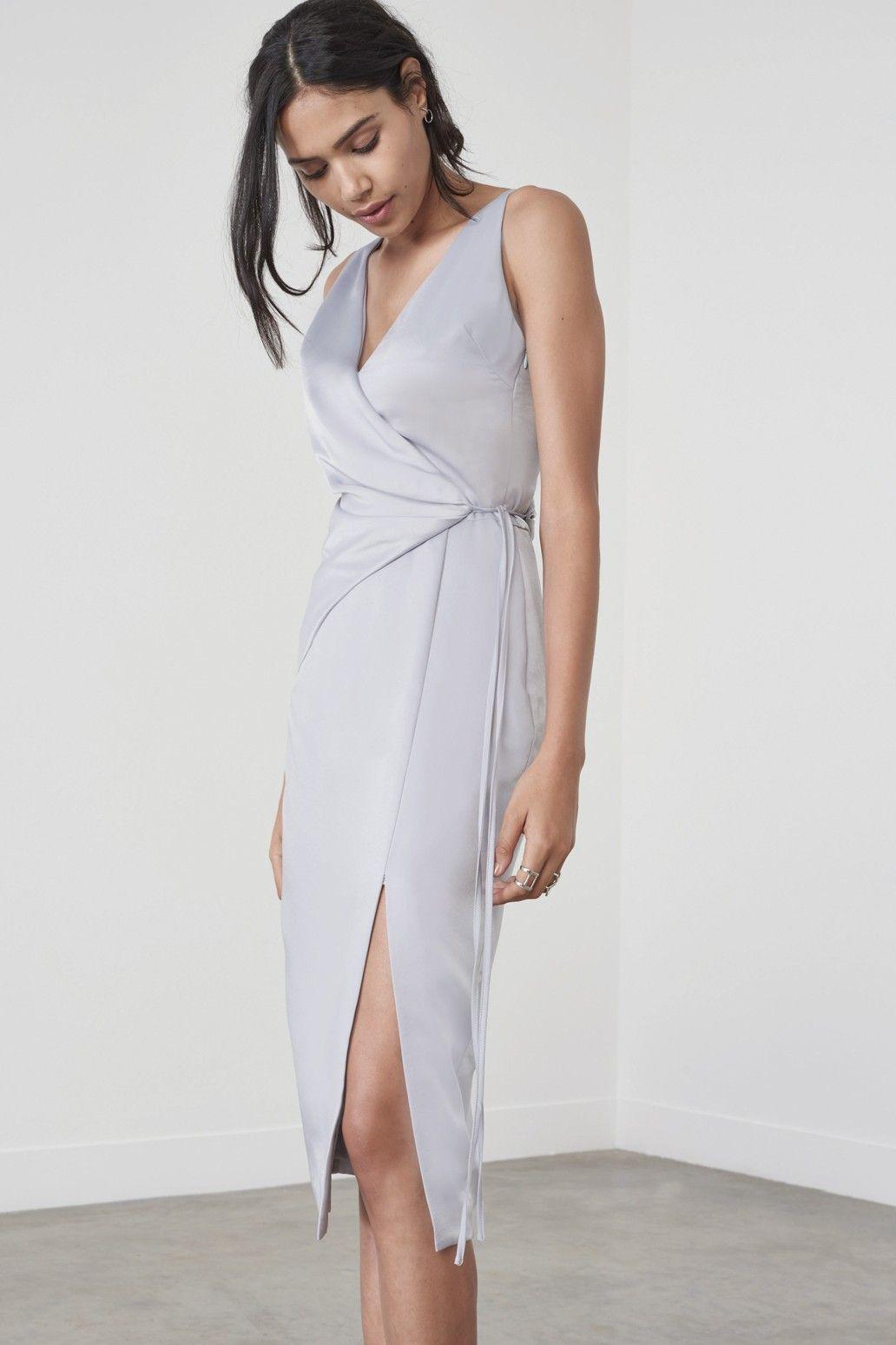 Dusty blue satin wrap tie midi dress dresses origami