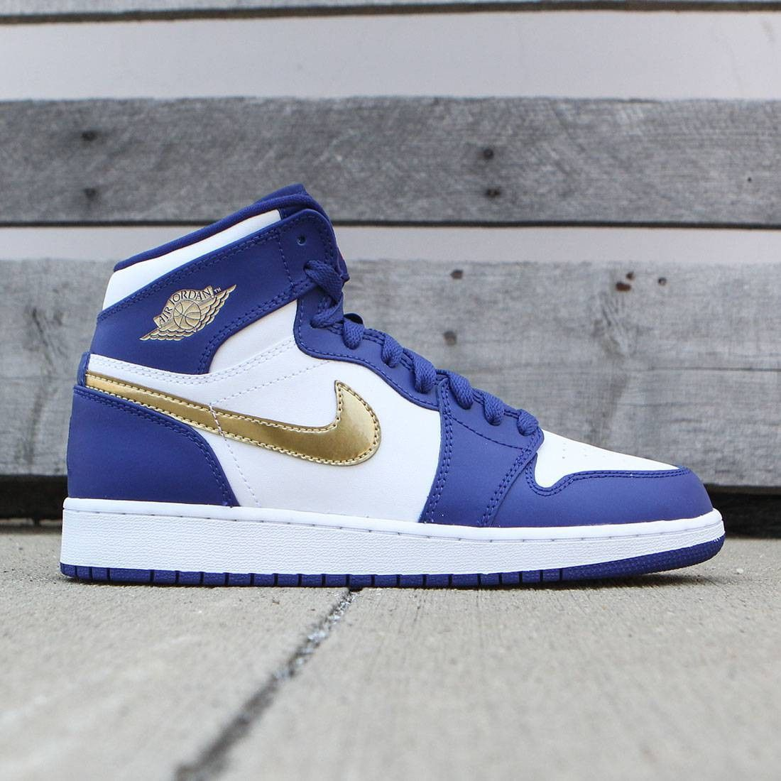 daddb330c15b Jordan Big Kids Air Jordan 1 Retro High (GS) (deep royal blue   mtlc gold  coin-white)