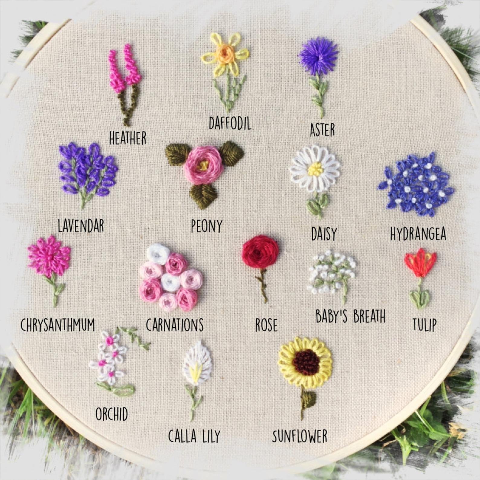 Photo of Sampler floral personalizado, bordado de ramo, o aro de letras
