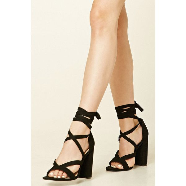 9ab4781a7a4d Forever21 Strappy Faux Suede Heels ( 30) ❤ liked on Polyvore featuring shoes