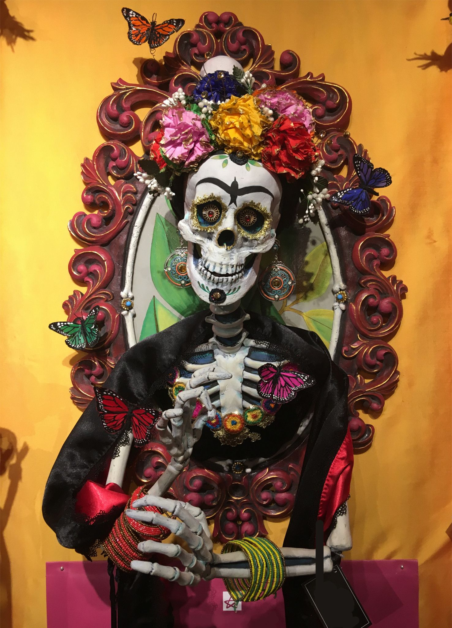 """/""""Day of the Dead/"""" Skeletons Mexican Multicolored Fabric 57/"""" Wide."""