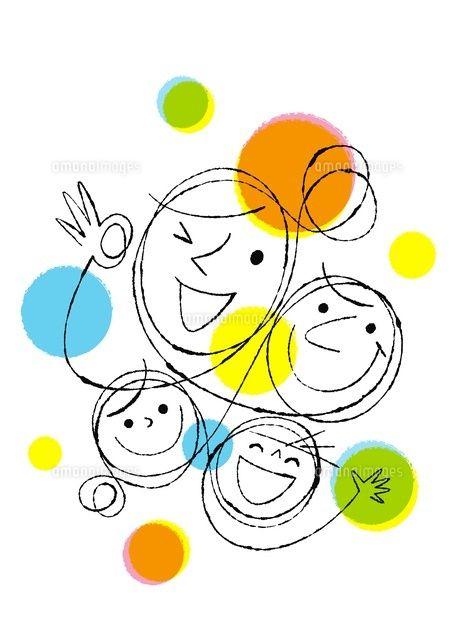 家族4人の顔 C Formmart イラスト 手書き イラスト 手帳 イラスト