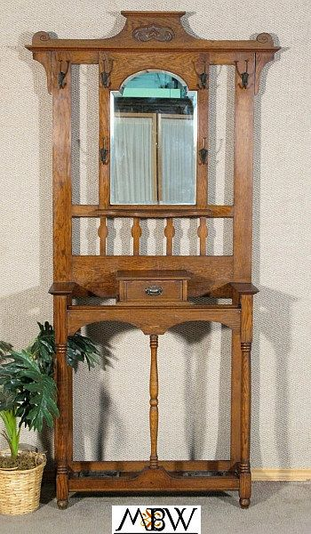 Antique Solid Oak Hat Umbrella Hall Tree Stand W Mirror