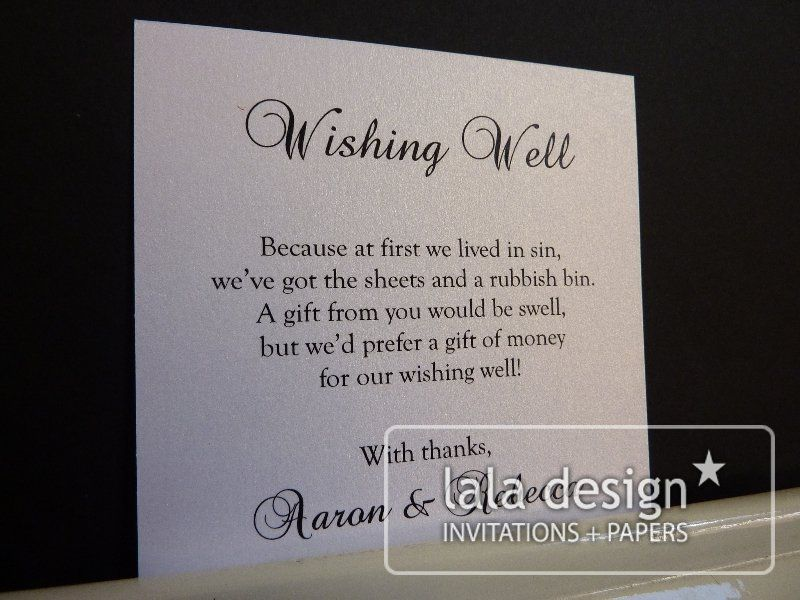 no gift wording for wedding invitations%0A Silver and black wishing well card