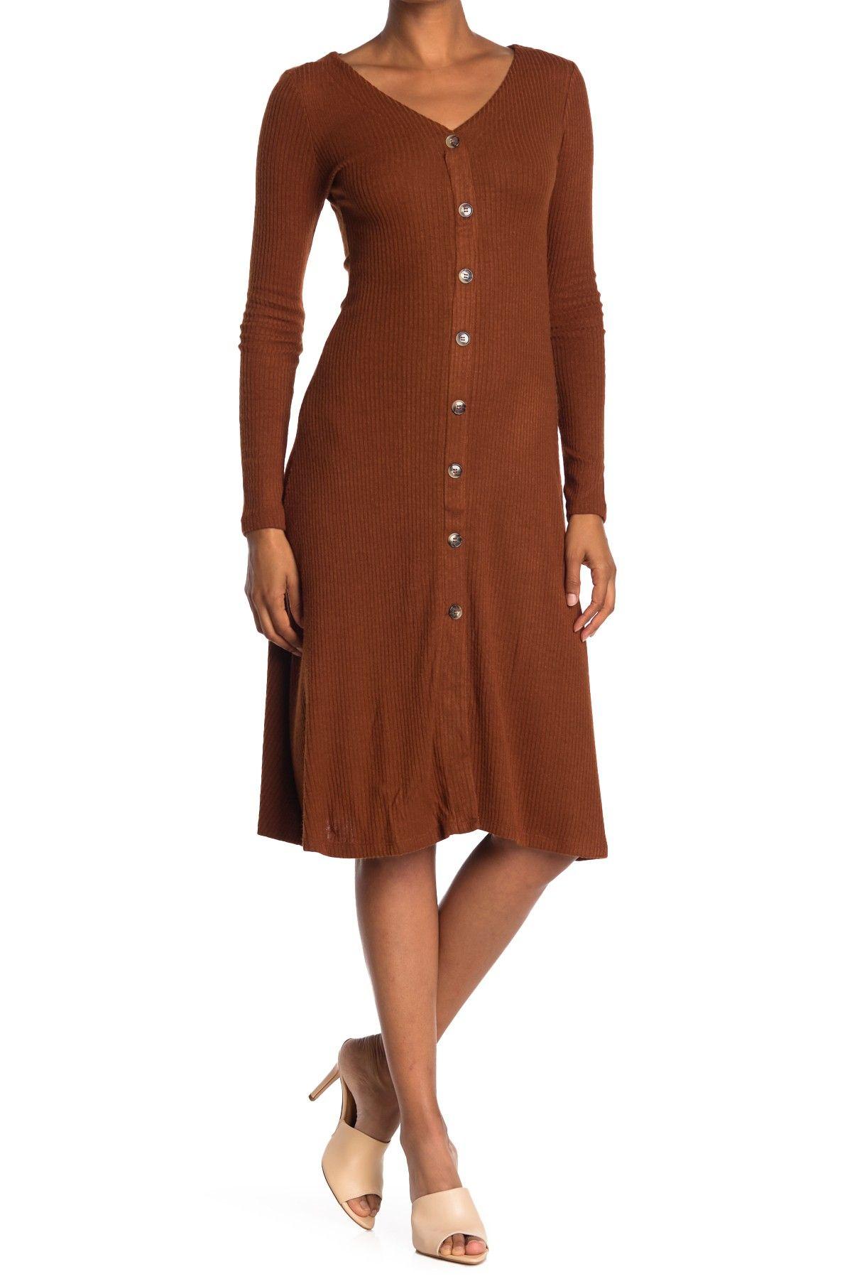 Double Zero V Neck Long Sleeve Button Down Sweater Dress Nordstrom Rack Ribbed Knit Dress Dresses Nordstrom Dresses [ 1800 x 1200 Pixel ]