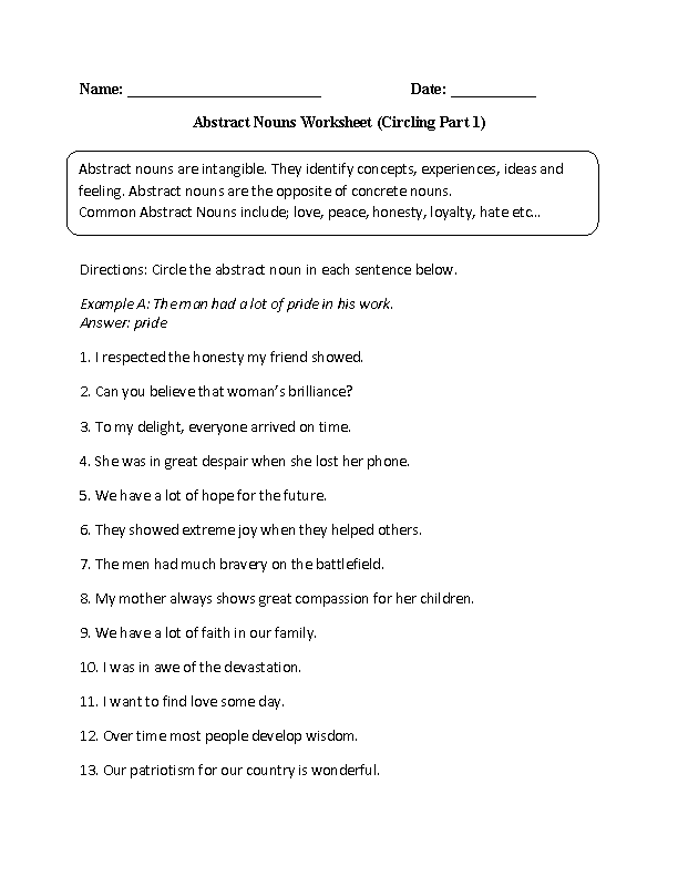 Practicing Abstract Nouns Worksheet sheenaarora – Proper Noun Worksheets