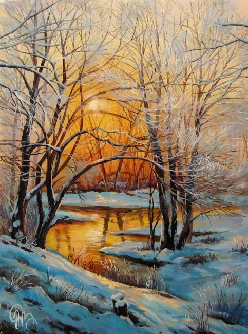 Painting Winter Evening Small River Pavlovka Nature Paintings Winter Painting Landscape Paintings
