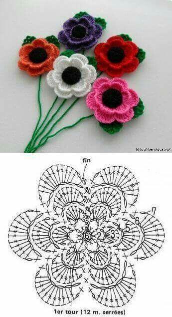 Pin De Wanda En Fiori Flores Tejidas A Crochet Flores Crochet Patrones Rosas De Ganchillo
