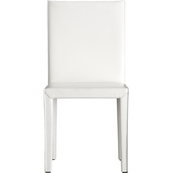Folio White Leather Side Chair In Dining Kitchen Chairs